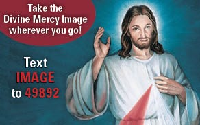 Take the Divine Mercy Image wherever you go!  Text IMAGE to 49892