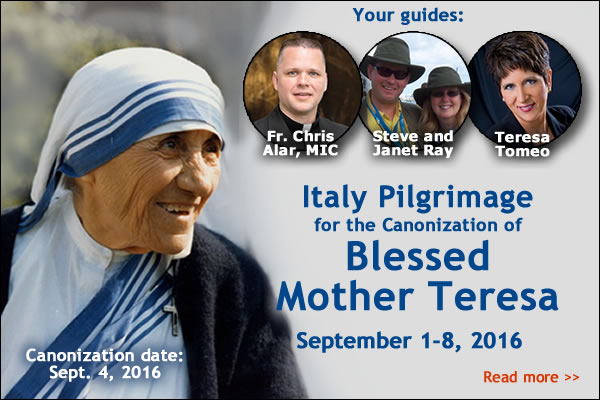 Canonization date: Sept 4, 2016 | Your guides:  Fr. Chris Alar, MIC; Steve and Janet Ray; Teresa Tomeo | Italy Pilgrimage for the Canonization of Blessed Mother Teresa  September 1-8, 2016 | Read more