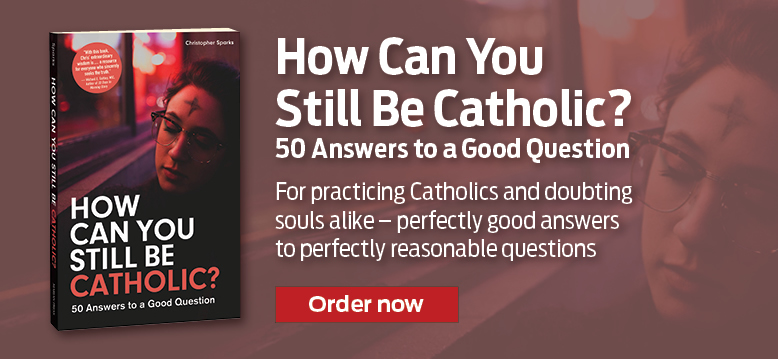 How Can You Still Be Catholic?  50 Answers to a Good Question  For practicing Catholics and doubting souls alike - perfectly good answers to perfectly reasonable questions.  Order now